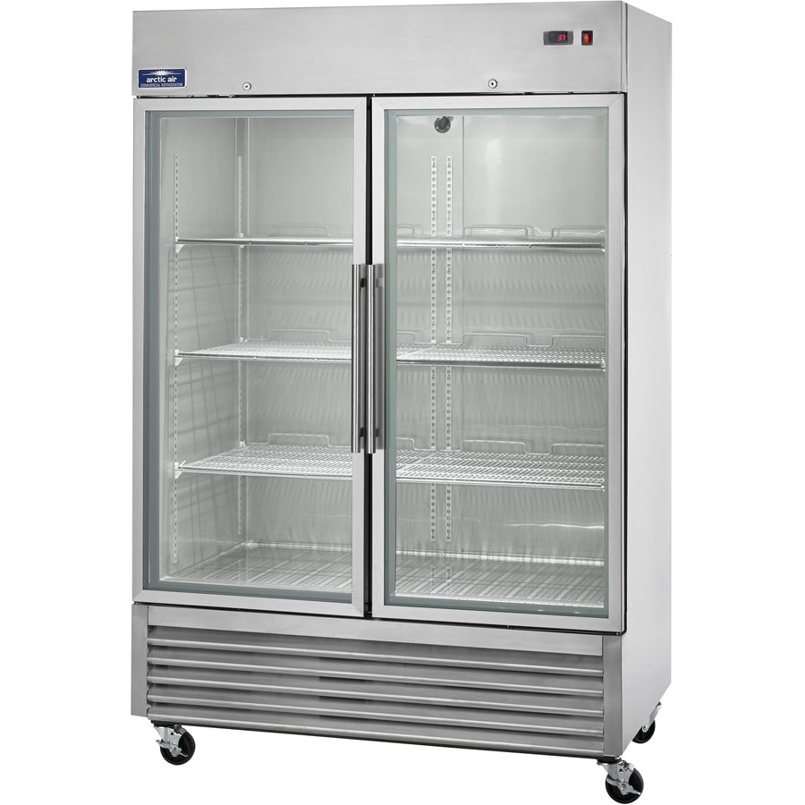 "Commercial Kitchen 2 Door Reach-In Refrigerator 54"" with Glass Door - AT Faucet"