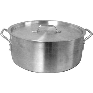 Commercial Heavy Duty 35 Qt. Aluminum Brazier Pot with Lid - AT Faucet