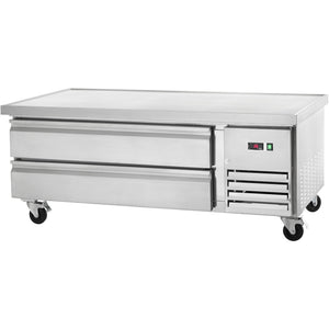 "Commercial Kitchen Refrigerated Chef Base 62"" with 2 Drawers - AT Faucet"