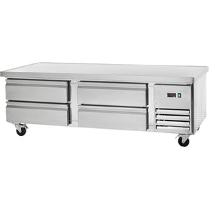 "Commercial Kitchen Refrigerated Chef Base 74"" with 4 Drawers - AT Faucet"