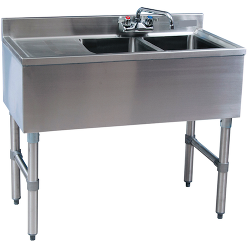 "Stainless Steel 2 Compartment Underbar Sink 36"" with Left Drainboard - AT Faucet"