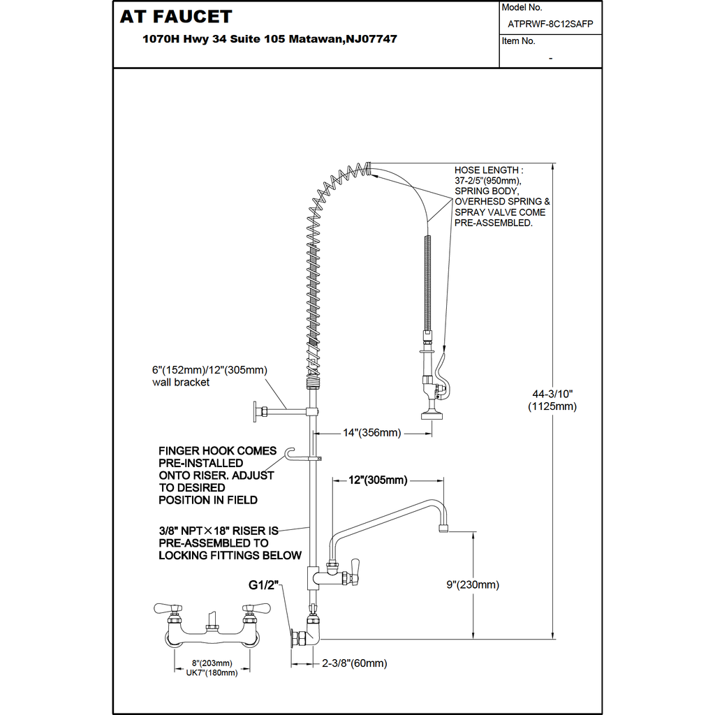 "AT Faucet 8"" Center Wall-Mount Pre-Rinse Faucet with 12"" Add-On Faucet Platinum Series - AT Faucet Bar & Restaurant Equipment New Jersey"
