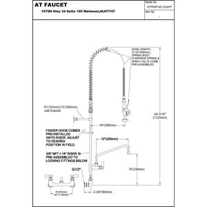 "AT Faucet 8"" Center Wall-Mount Pre-Rinse Faucet with 12"" Add-On Faucet Platinum Series - AT Faucet"