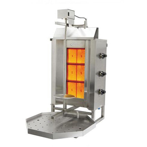 Commercial 3 Burner LP Gas Vertical Broiler Gyro Machine - AT Faucet
