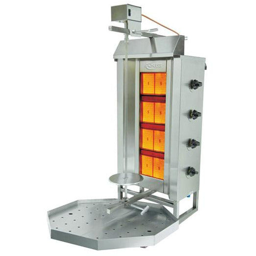 Commercial 4 Burner LP Gas Vertical Broiler Gyro Machine - AT Faucet