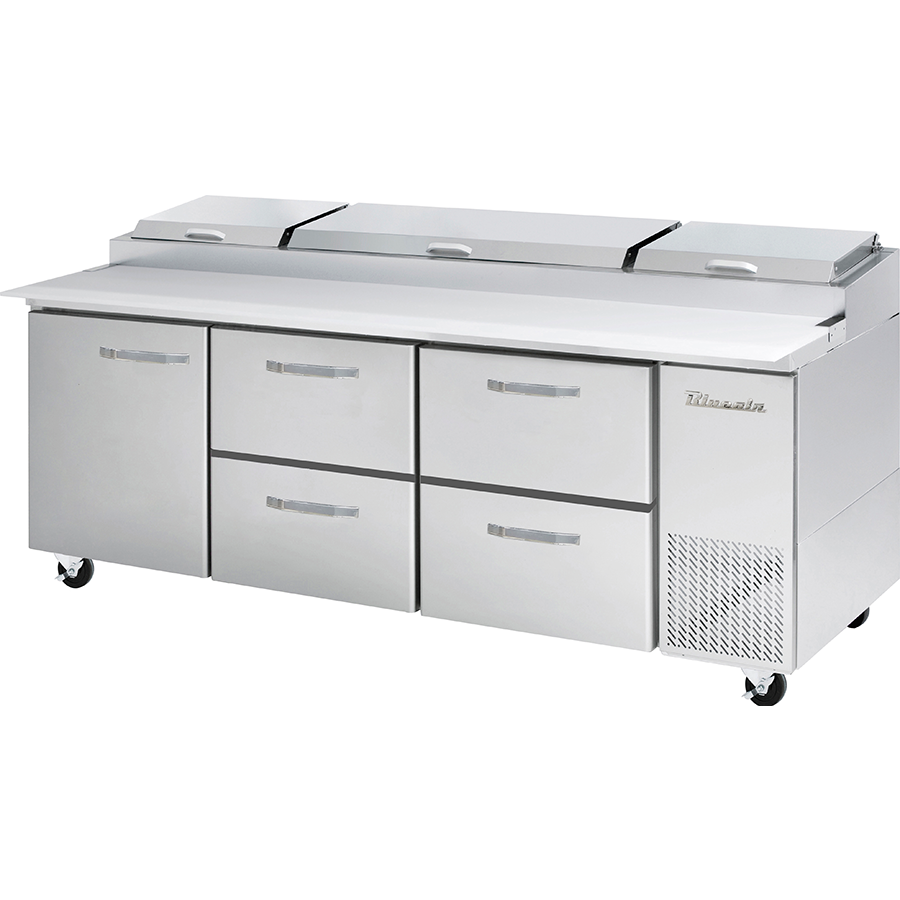 "Blue Air Heavy Duty 30.8 Cu. Ft. Refrigerated Pizza Prep Table 93"" with 4 Drawers - AT Faucet"