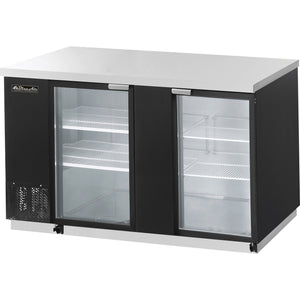 "Blue Air 69"" Glass Back Bar Cooler BBB69-3BG with 2 Doors - AT Faucet"