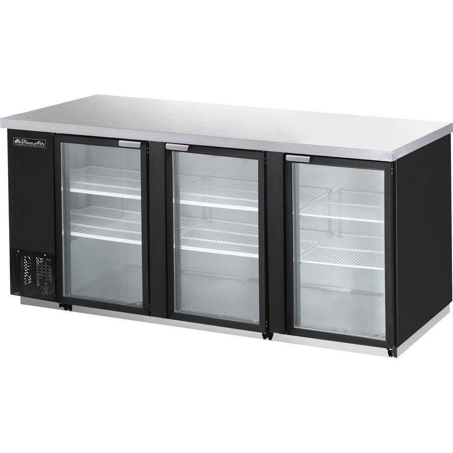 "Blue Air 90"" Glass Back Bar Cooler BBB90-4BG with 3 Doors - AT Faucet"