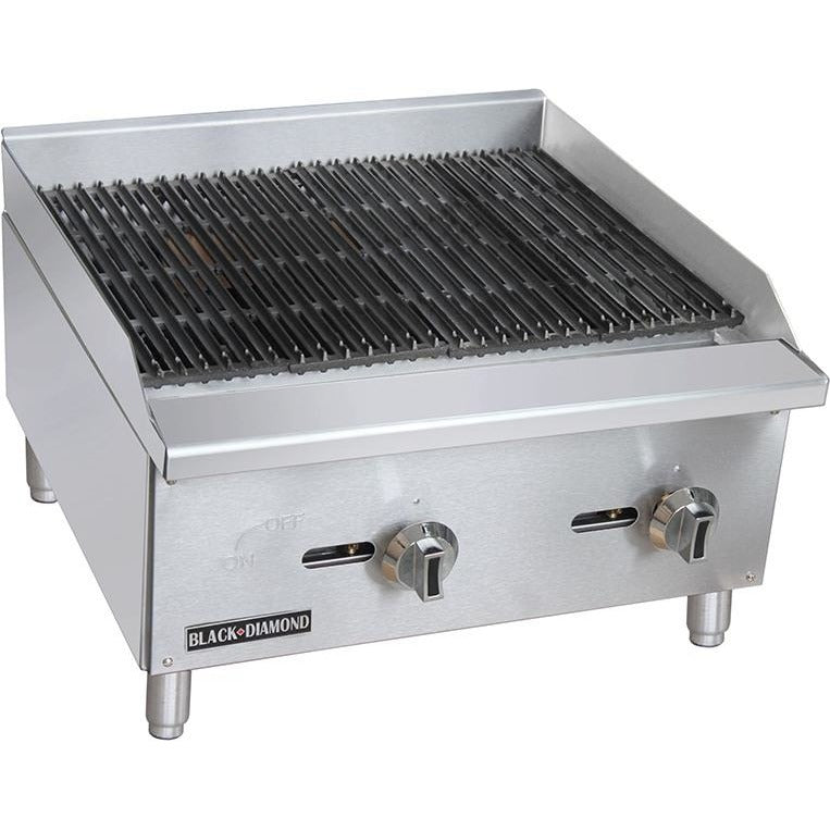 "Commercial Kitchen Countertop Natural Gas Char-Broiler 24"" - AT Faucet"