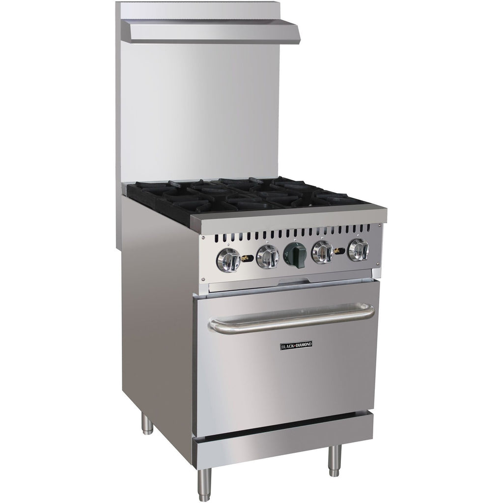 "Commercial Kitchen 4 Burner Gas Range Natural Gas 24"" with Oven - AT Faucet"