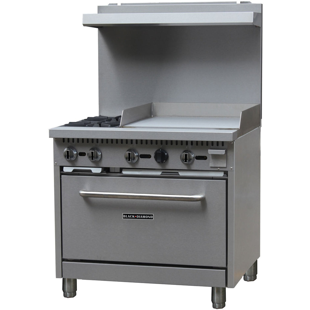 "Commercial Kitchen 2 Burner Natural Gas Range with 24"" Griddle - AT Faucet Bar & Restaurant Equipment New Jersey"