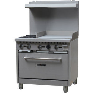 "Commercial Kitchen 2 Burner Natural Gas Range with 24"" Griddle - AT Faucet"