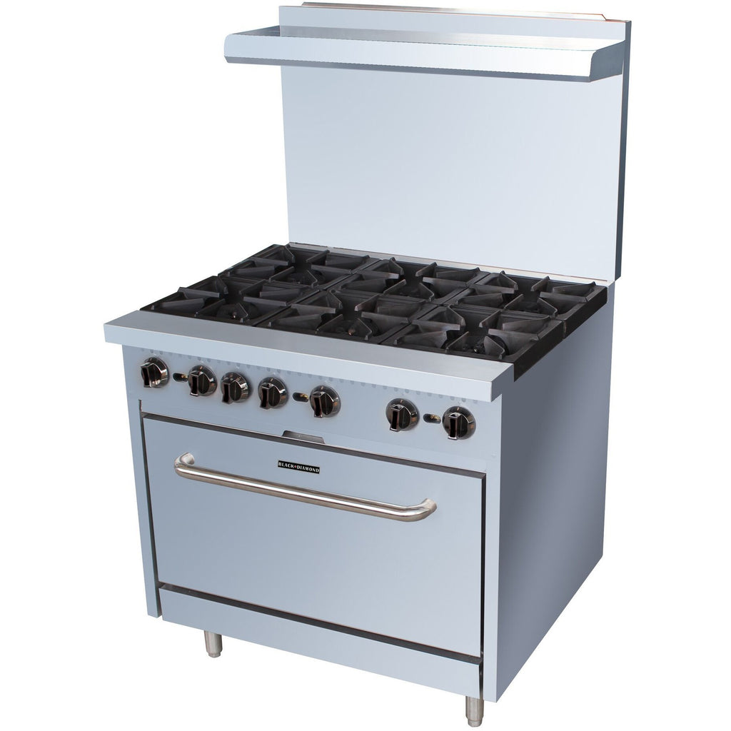 "Commercial Kitchen 6 Burner Gas Range Natural Gas 36"" with Oven - AT Faucet"