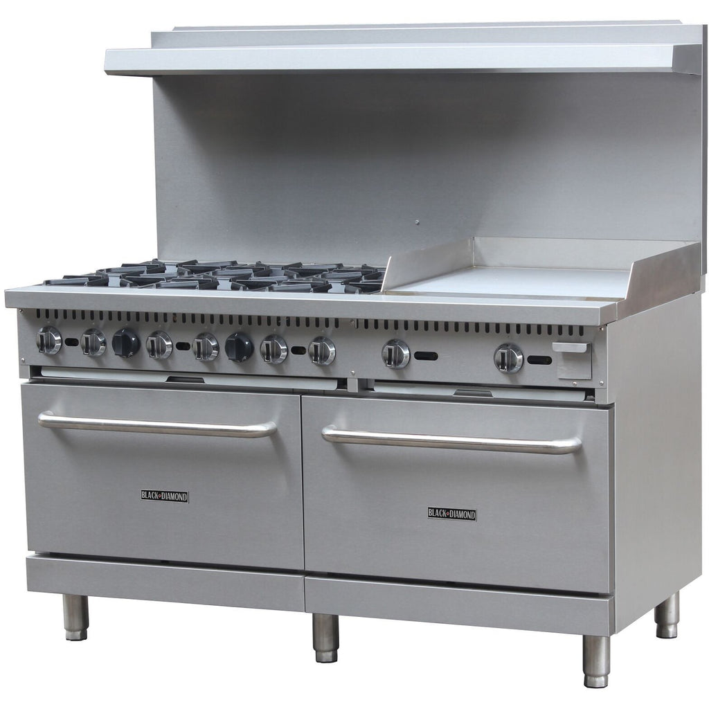 "Commercial Kitchen 6 Burner Natural Gas Range with 24"" Griddle - AT Faucet"