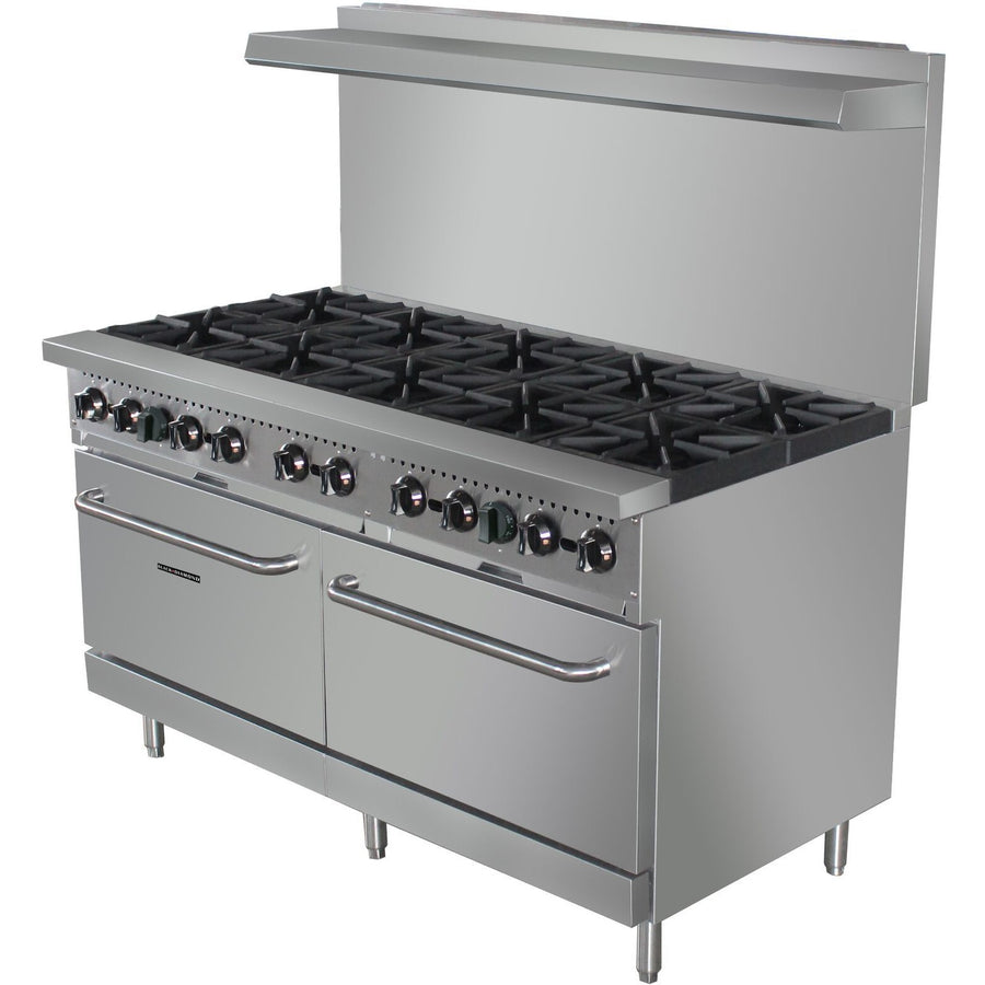 "Commercial Kitchen 10 Burner Gas Range Natural Gas 60"" with Ovens - AT Faucet"