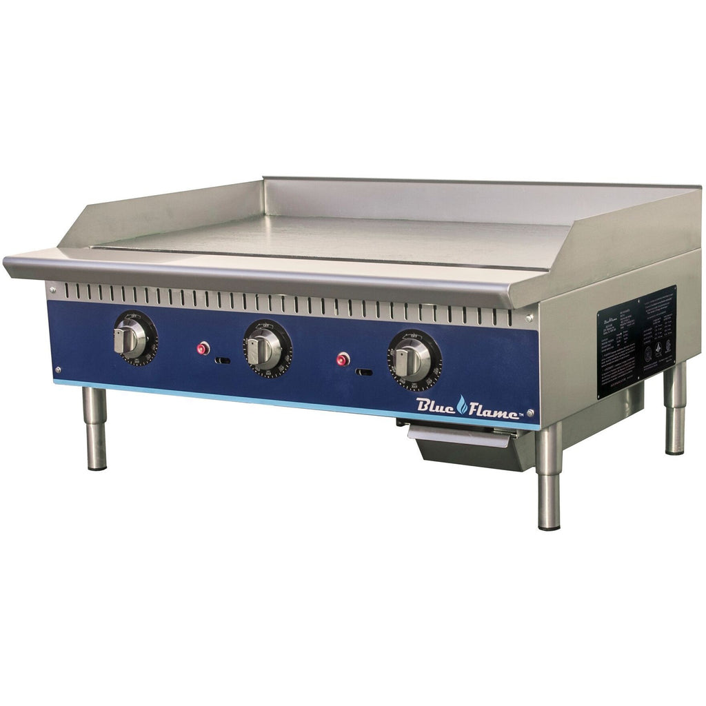 "Blue Flame Commercial Kitchen 36"" Thermostatic Gas Griddle - AT Faucet"