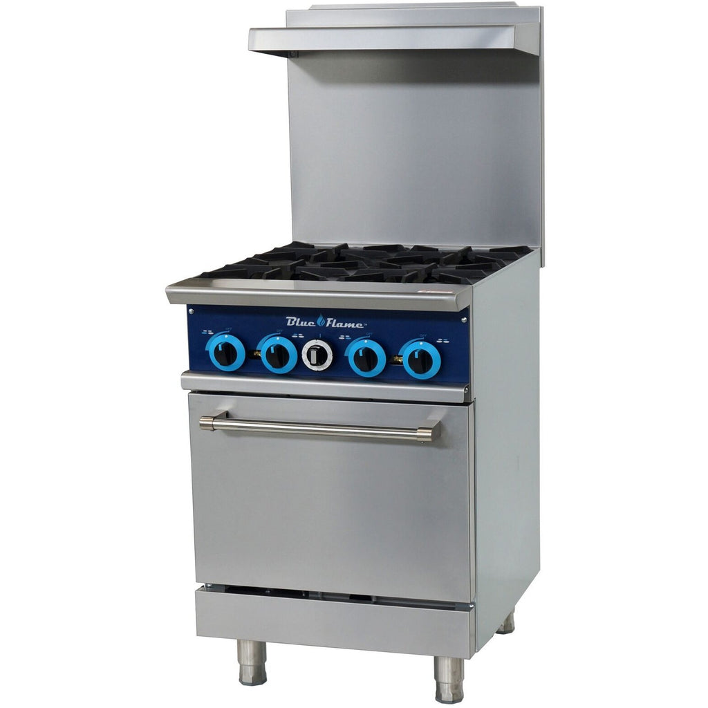 Blue Air Commercial Kitchen 4 Burner Restaurant Range with Oven - AT Faucet