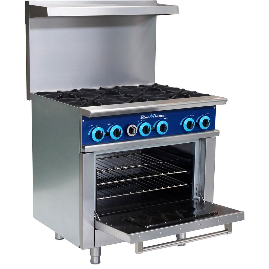 Blue Air Commercial Kitchen 6 Burner Restaurant Range with Oven - AT Faucet