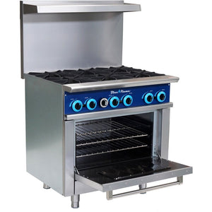 Blue Flame Commercial Kitchen 6 Burner Restaurant Range with Oven - AT Faucet