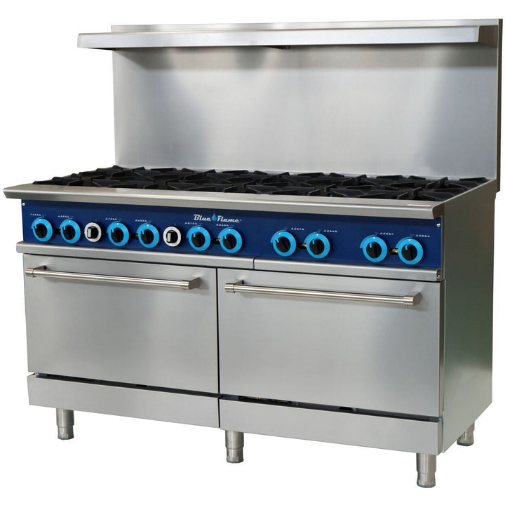 Blue Flame Commercial Kitchen 10 Burner Restaurant Range with Ovens - AT Faucet
