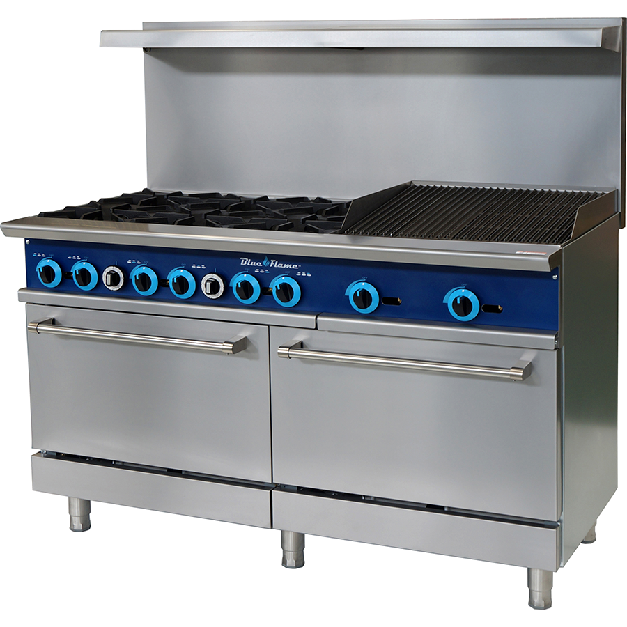 "Blue Air Commercial Kitchen 6 Burner Range with 24"" Char-Broiler - AT Faucet"