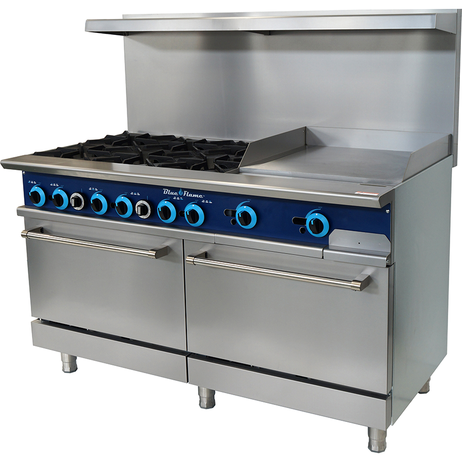 "Blue Air Commercial Kitchen 6 Burner Range with 24"" Griddle - AT Faucet"