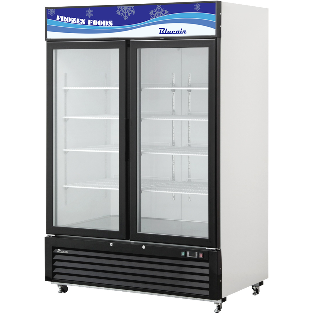 "Blue Air Heavy Duty 49 Cu. Ft. Glass 2 Door Merchandiser Freezer 54"" - AT Faucet"