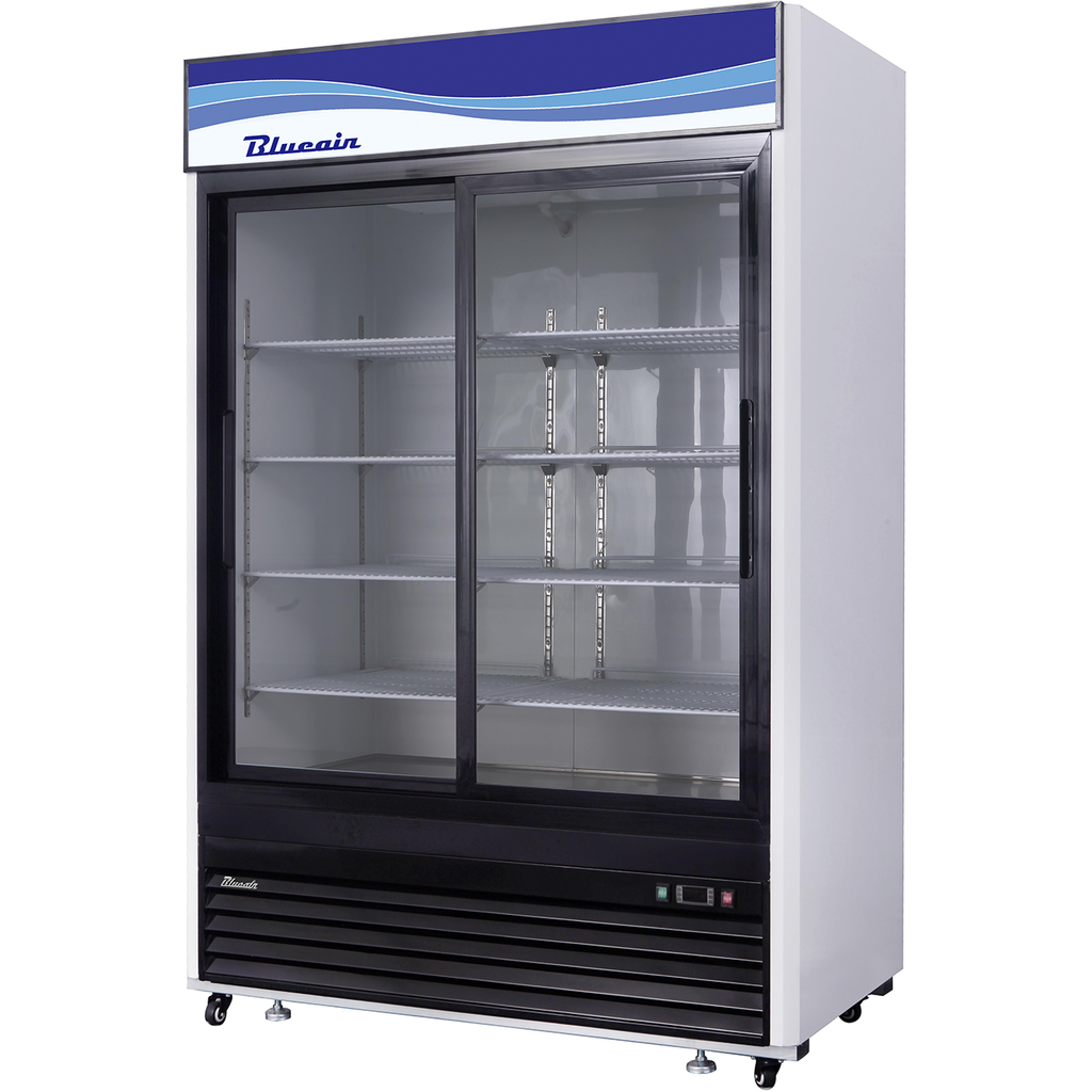 "Commercial Heavy Duty 45 Cu. Ft. 2 Glass Door Refrigerated Merchandiser 55"" - AT Faucet"