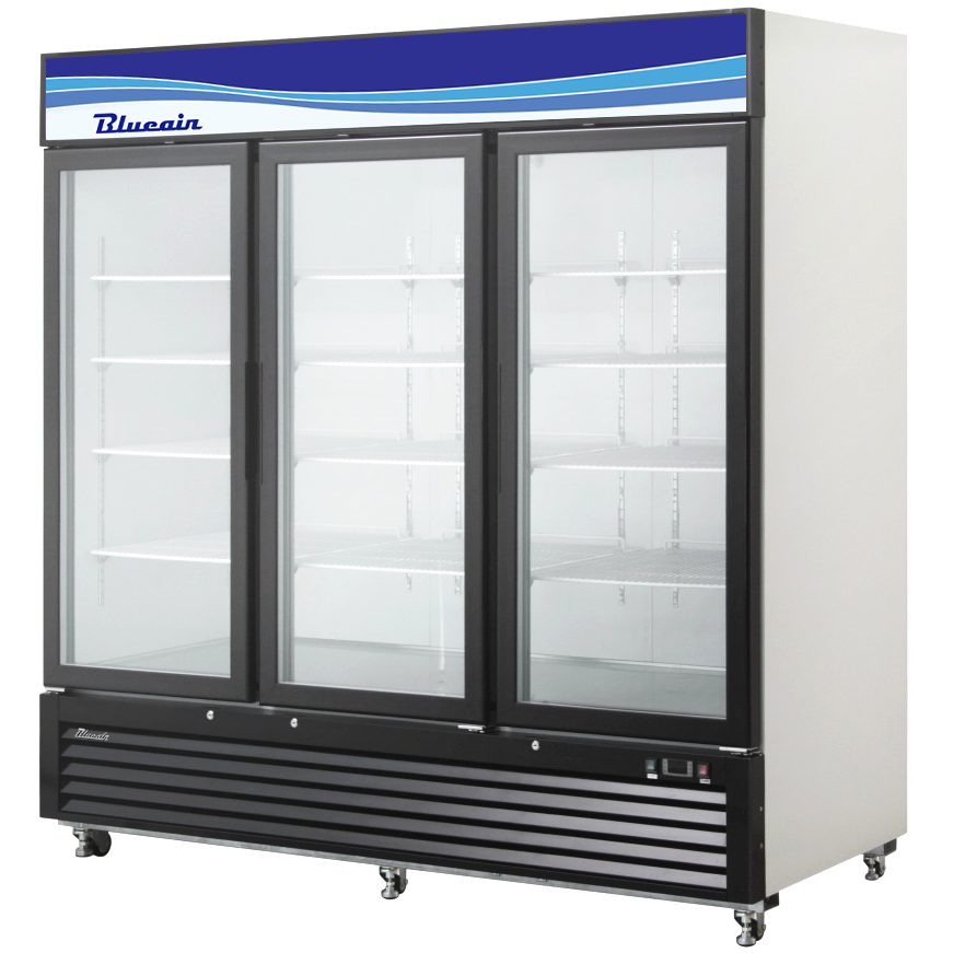 "Commercial Heavy Duty 72 Cu. Ft. Glass 3 Door Refrigerated Merchandiser 82"" - AT Faucet"