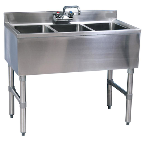 "Stainless Steel 3 Compartment Underbar Sink 36"" - AT Faucet"