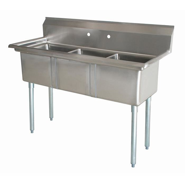 "Stainless Steel 3 Compartment Sink 59"" x 24"" No Drainboards - AT Faucet"