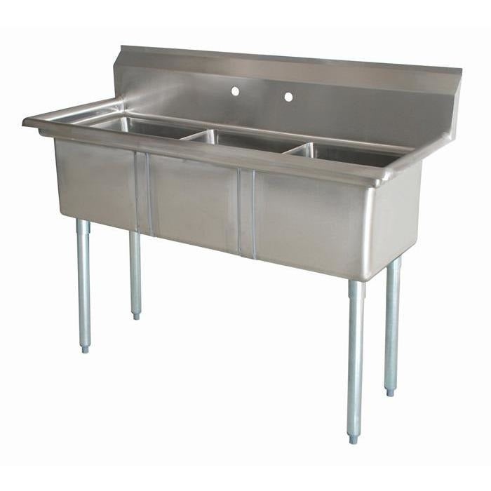 "Stainless Steel 3 Compartment Sink 65.5"" x 26"" No Drainboards - AT Faucet"