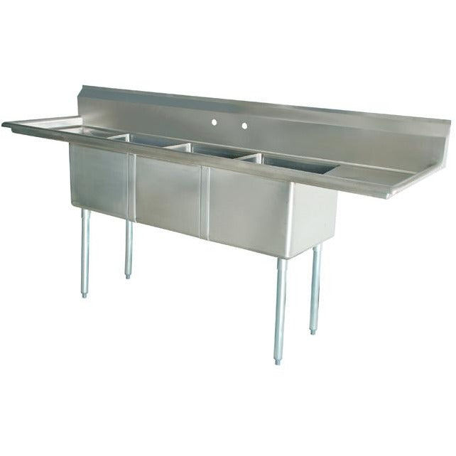 "Stainless Steel 3 Compartment Sink 84"" x 26"" with 2 18"" Drainboards - AT Faucet"