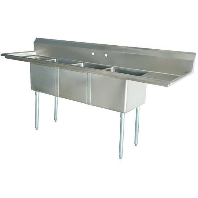 "Stainless Steel 3 Compartment Sink 90"" x 27"" with 2 18"" Drainboards - AT Faucet"