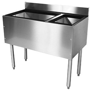 "Glastender C-CBA-48R Cocktail Unit Combo Ice Bin 48"" with Right Bottle Well - AT Faucet"