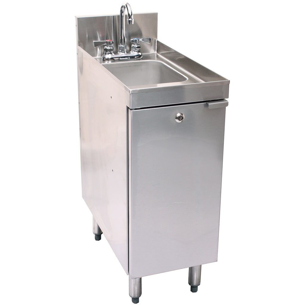 "Glastender Stainless Steel C-SC-12 1 Compartment Hand Sink Cabinet 12"" - AT Faucet"