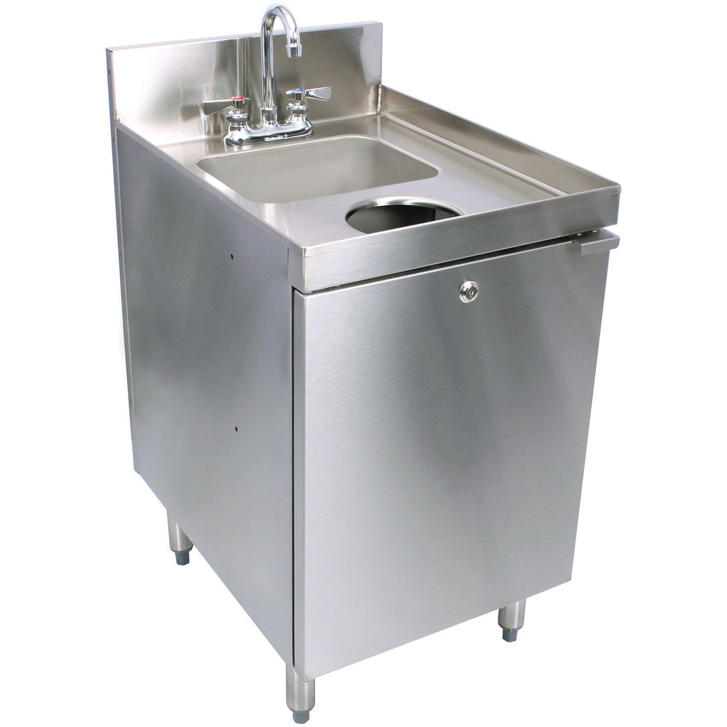 "Glastender Stainless Steel C-SC-18 1 Compartment Hand Sink Cabinet 18"" - AT Faucet"