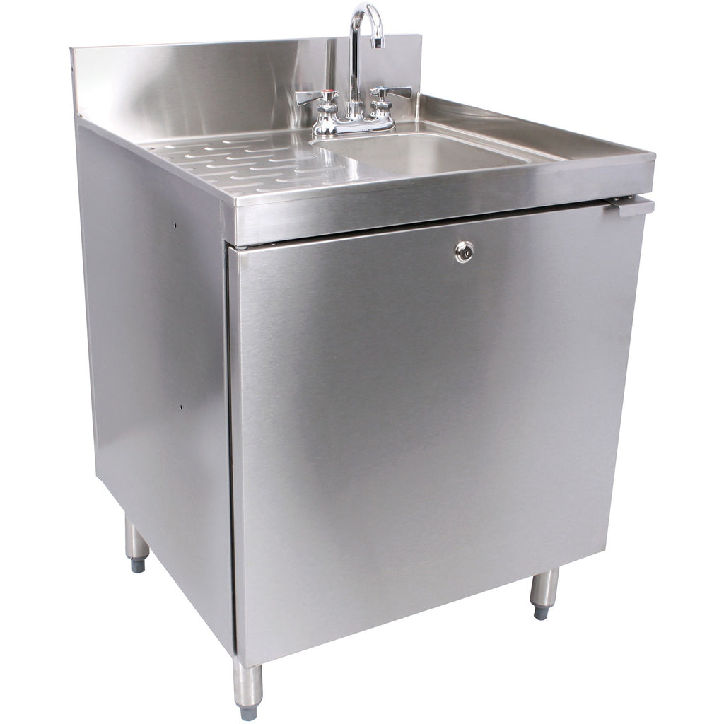 "Glastender Stainless Steel C-SC-24R 1 Compartment Hand Sink Cabinet 24"" - AT Faucet"