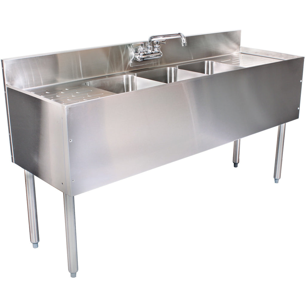 "Glastender 3 Compartment Underbar Sink 84"" x 19"" with 2 Drainboards - AT Faucet"