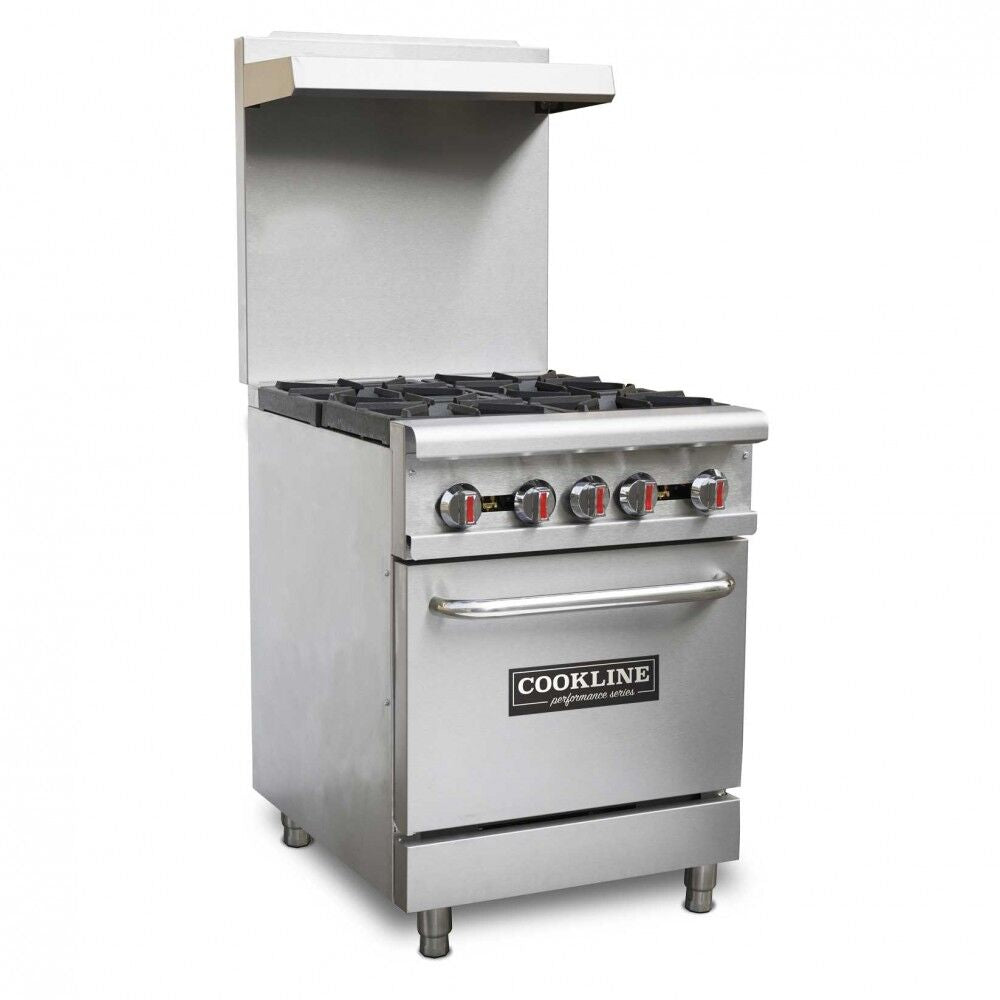 "Commercial Kitchen 4 Burner Restaurant Range with Oven 24"" - AT Faucet Bar & Restaurant Equipment New Jersey"