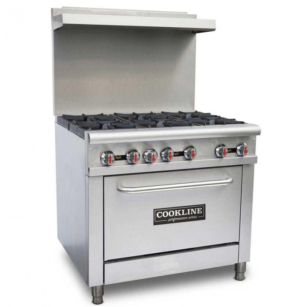 "Commercial Kitchen 6 Burner Restaurant Range with Oven 36"" - AT Faucet Bar & Restaurant Equipment New Jersey"
