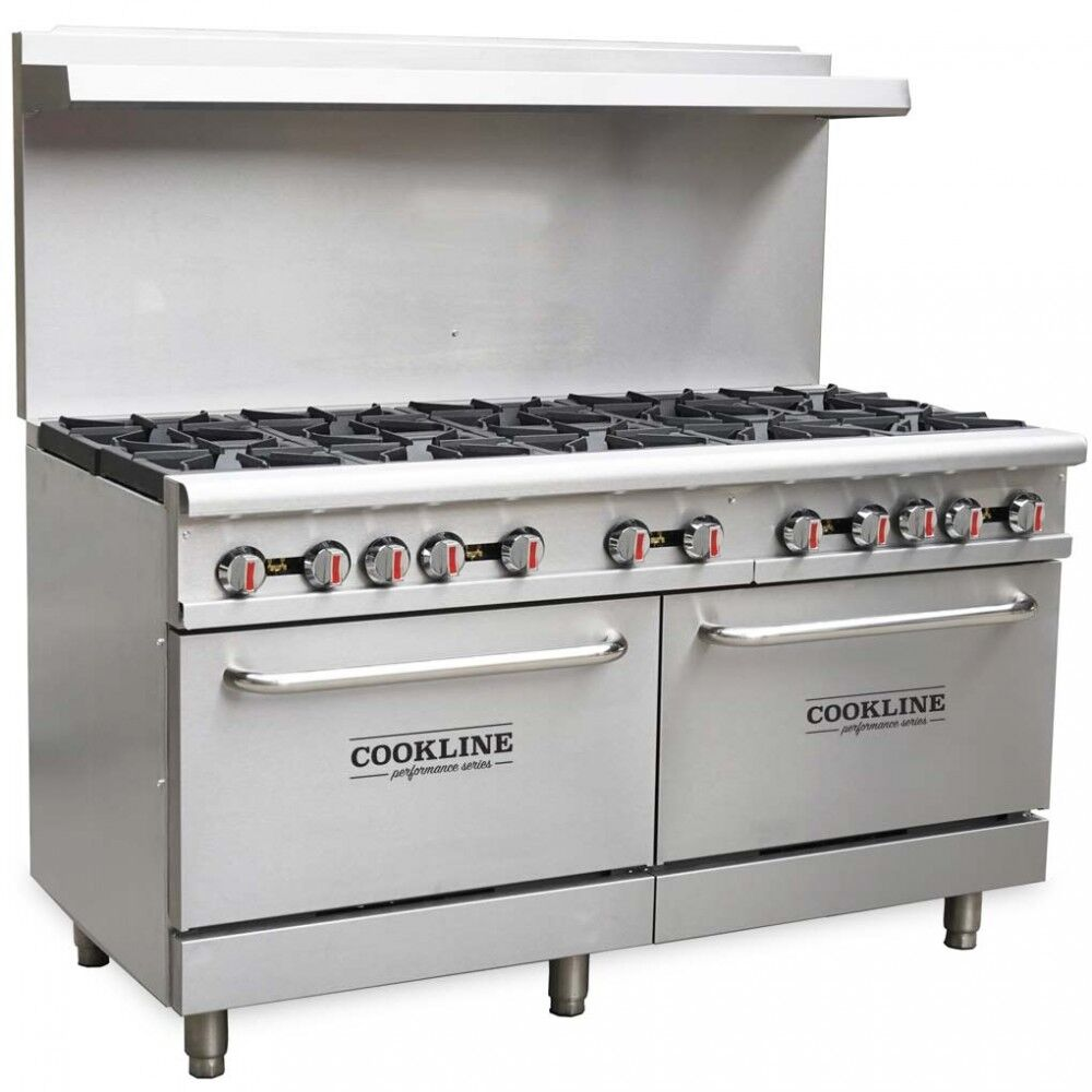 "Commercial Kitchen 10 Burner Restaurant Range with Oven 60"" - AT Faucet Bar & Restaurant Equipment New Jersey"