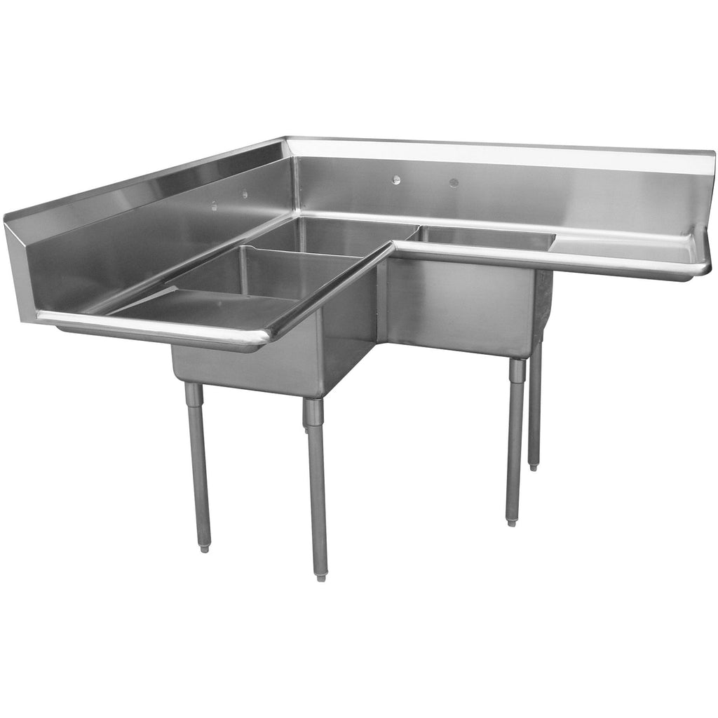 "Stainless Steel 3 Compartment Sink 57"" x 57"" with 2 18"" Drainboards - AT Faucet"