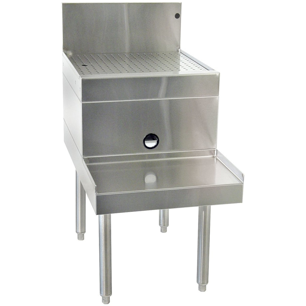 "Glastender DBSA-12 12"" Stainless Steel Blender Station Drainboard - AT Faucet"