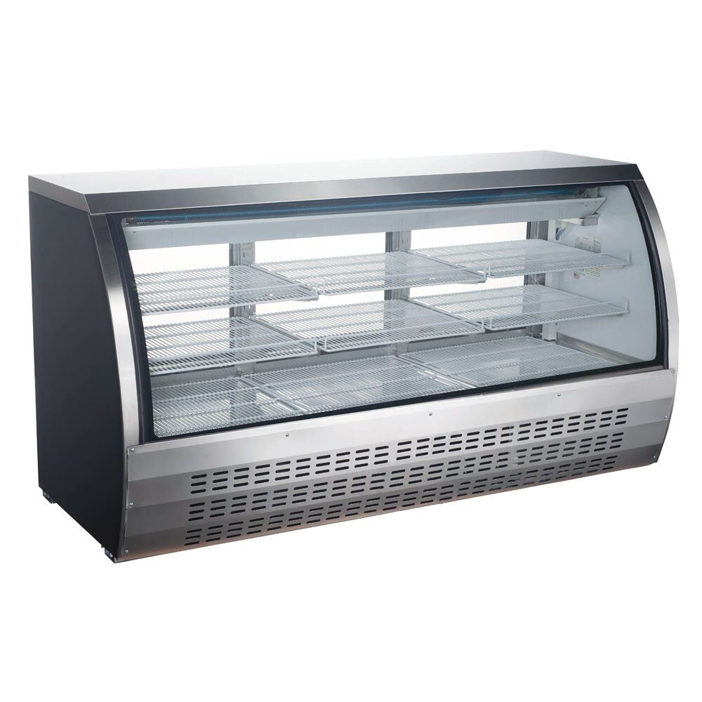 "Commercial Refrigerated Display Deli Case 79"" Stainless Steel with Casters - AT Faucet"