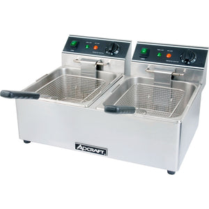 Commercial Kitchen Countertop Electric Double Tank Deep Fryer 6L - AT Faucet