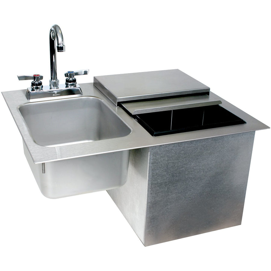 Glastender Commercial Drop-In Ice Bin with Sink & Faucet - AT Faucet