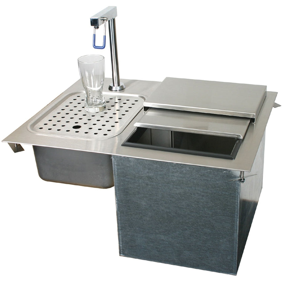 Glastender Commercial Drop-In Ice Bin with Water Station - AT Faucet
