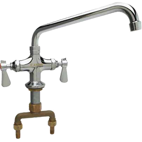 "Commercial Double Pantry Deck-Mount Faucet with 6"" Spout - AT Faucet"