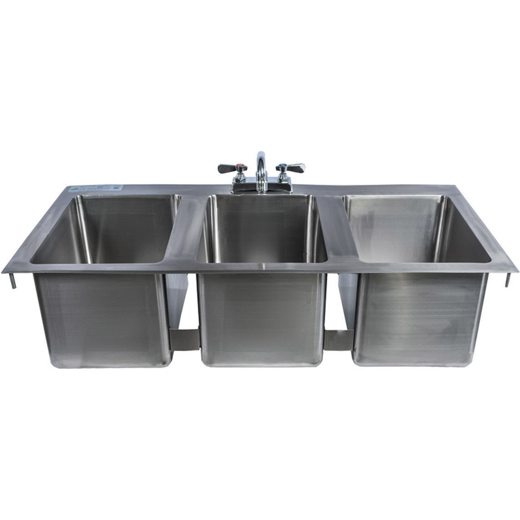 "Stainless Steel 3 Compartment Drop-In Sink 50"" x 20.5"" with Faucet & Drains - AT Faucet"